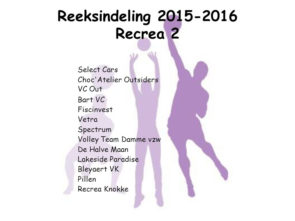 Reeksindeling 2015-2016 Recrea 2
