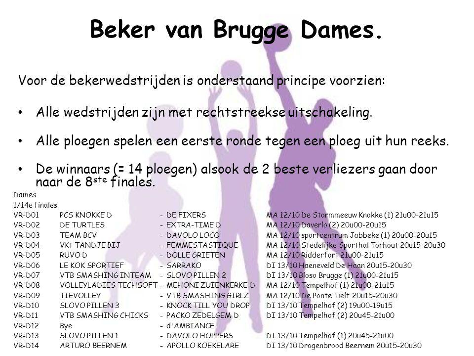 Beker van Brugge Dames. Voor de bekerwedstrijden is onderstaand principe voorzien: Alle wedstrijden zijn met rechtstreekse uitschakeling.