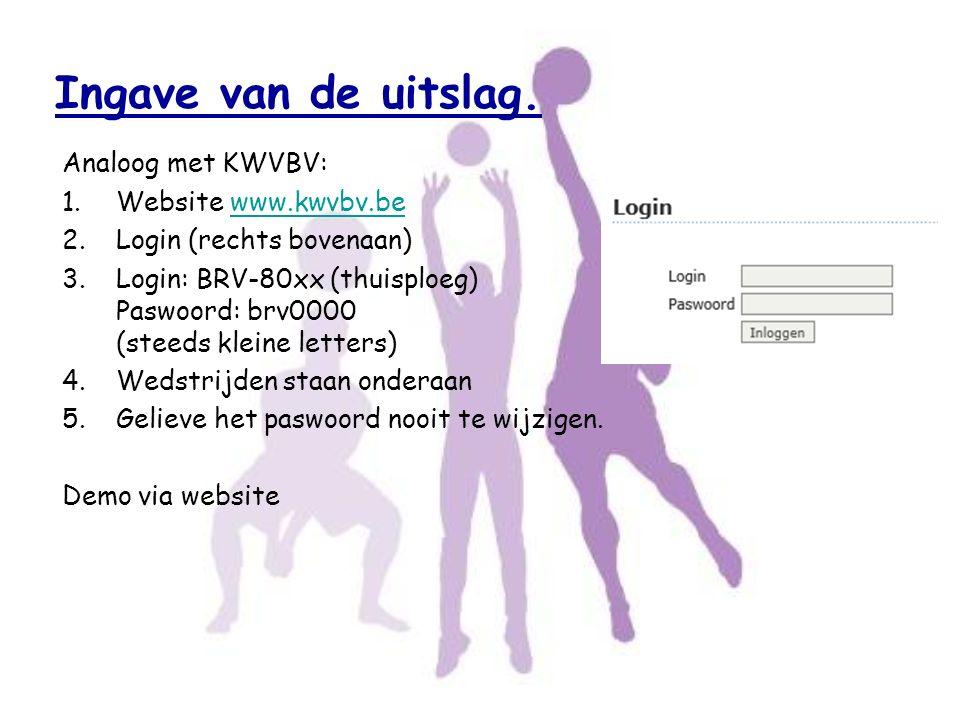 Ingave van de uitslag. Analoog met KWVBV: Website www.kwvbv.be