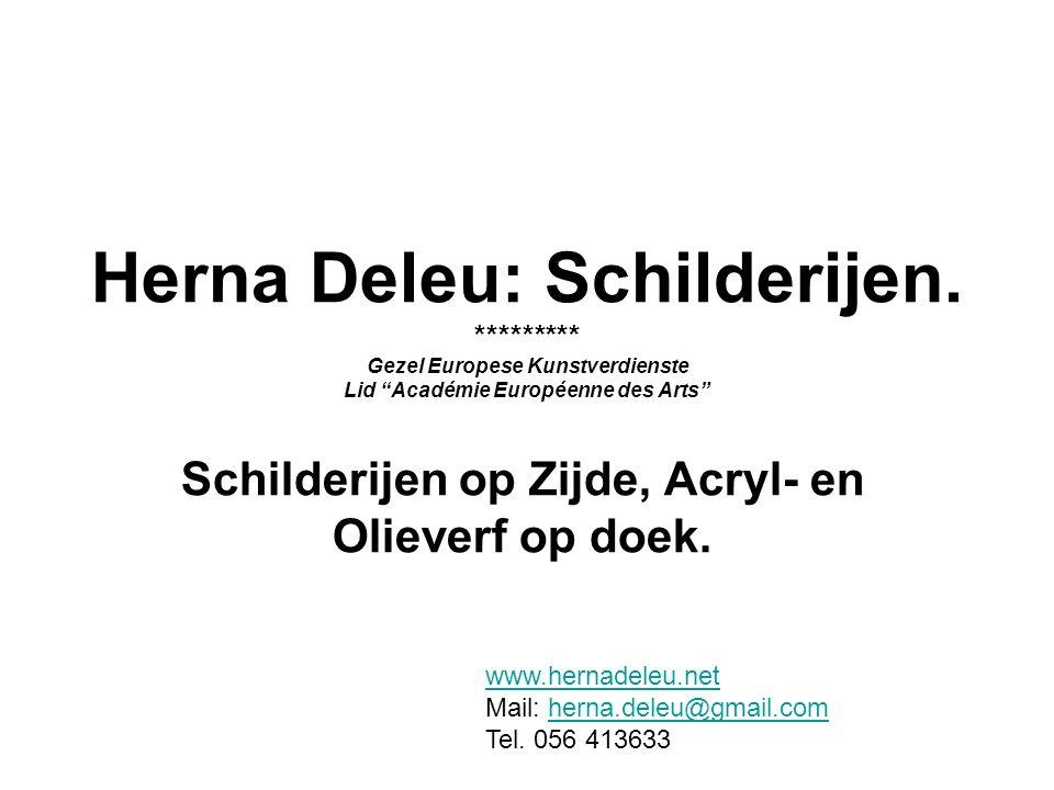 Schilderijen op Zijde, Acryl- en Olieverf op doek.