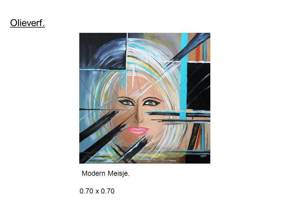 Olieverf. Modern Meisje. 0.70 x 0.70