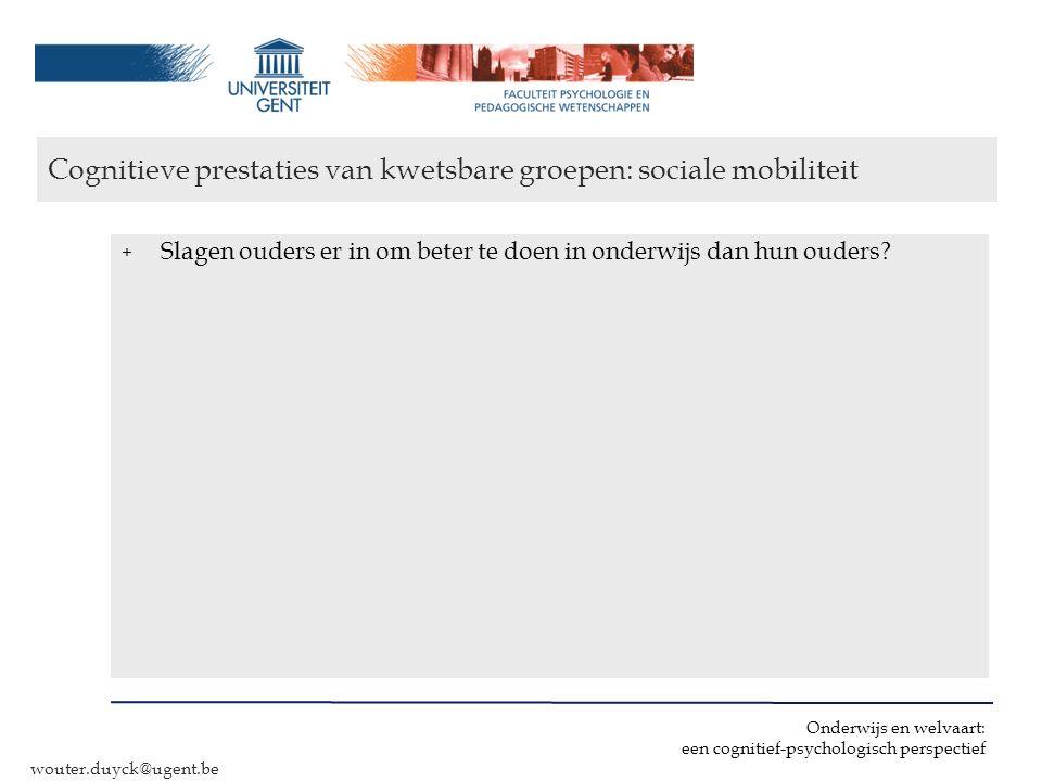 Cognitieve prestaties van kwetsbare groepen: sociale mobiliteit