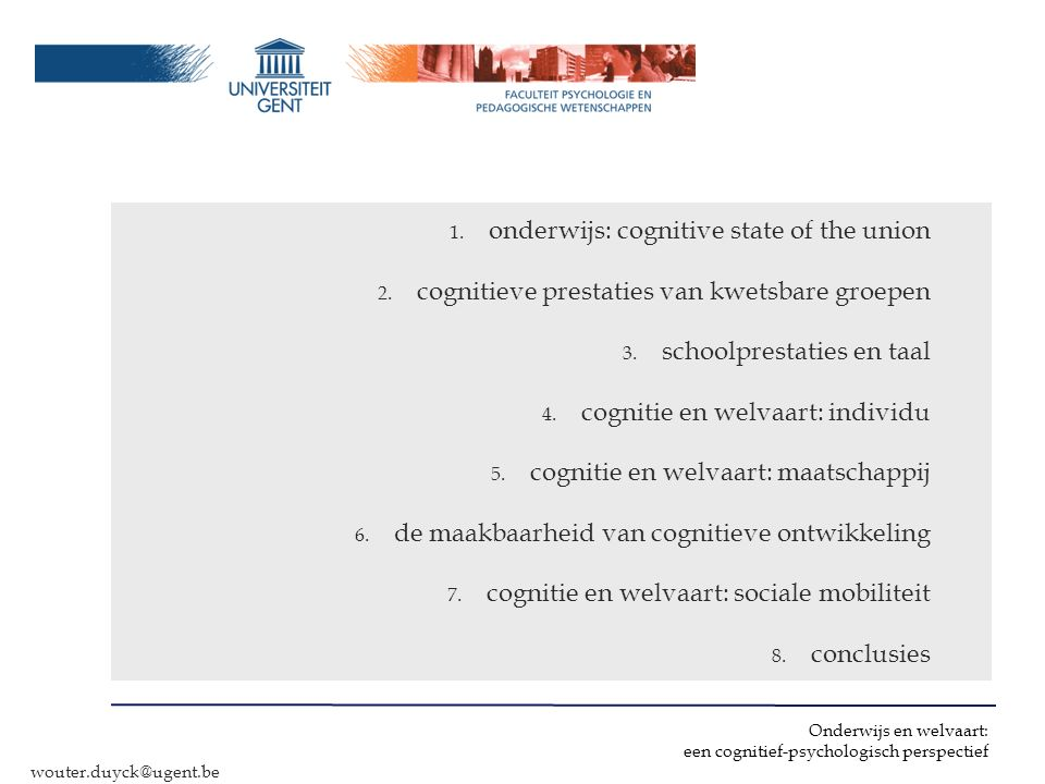 onderwijs: cognitive state of the union