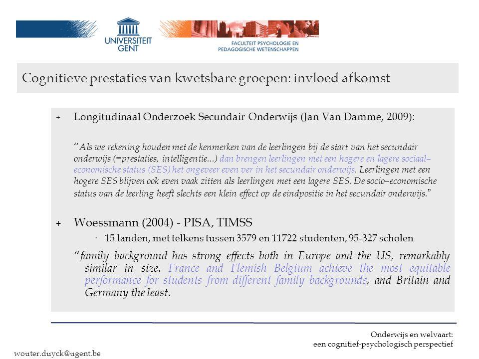 Cognitieve prestaties van kwetsbare groepen: invloed afkomst