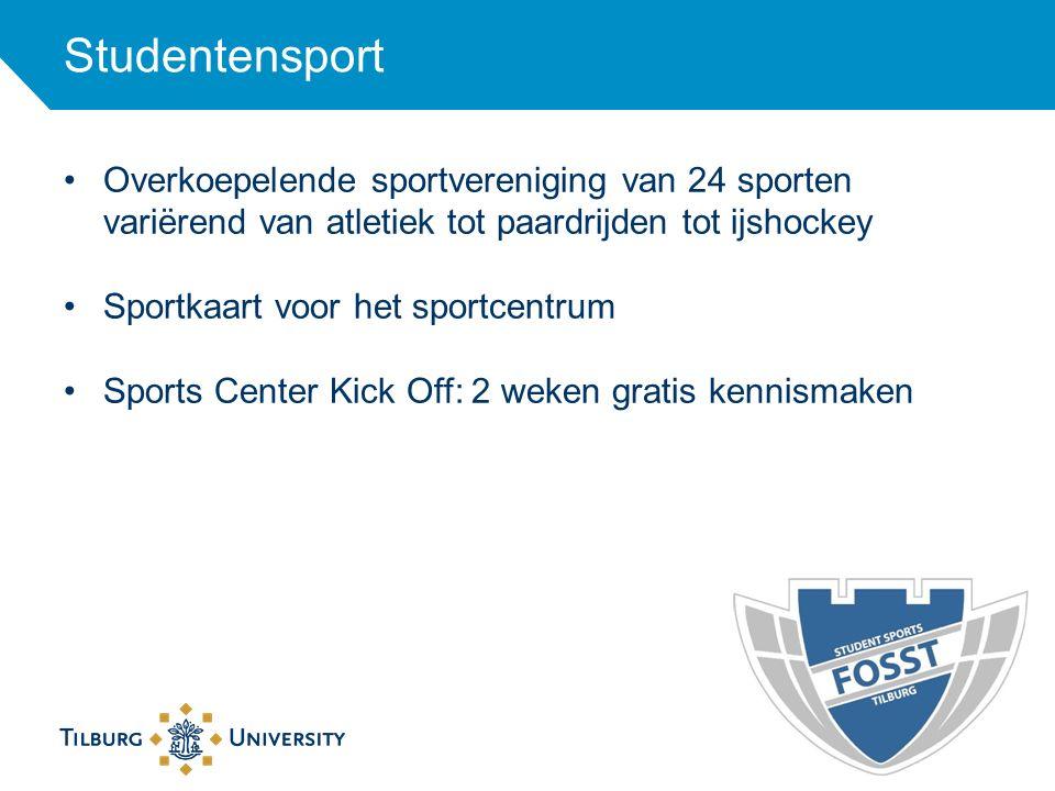 Studentensport Overkoepelende sportvereniging van 24 sporten variërend van atletiek tot paardrijden tot ijshockey.