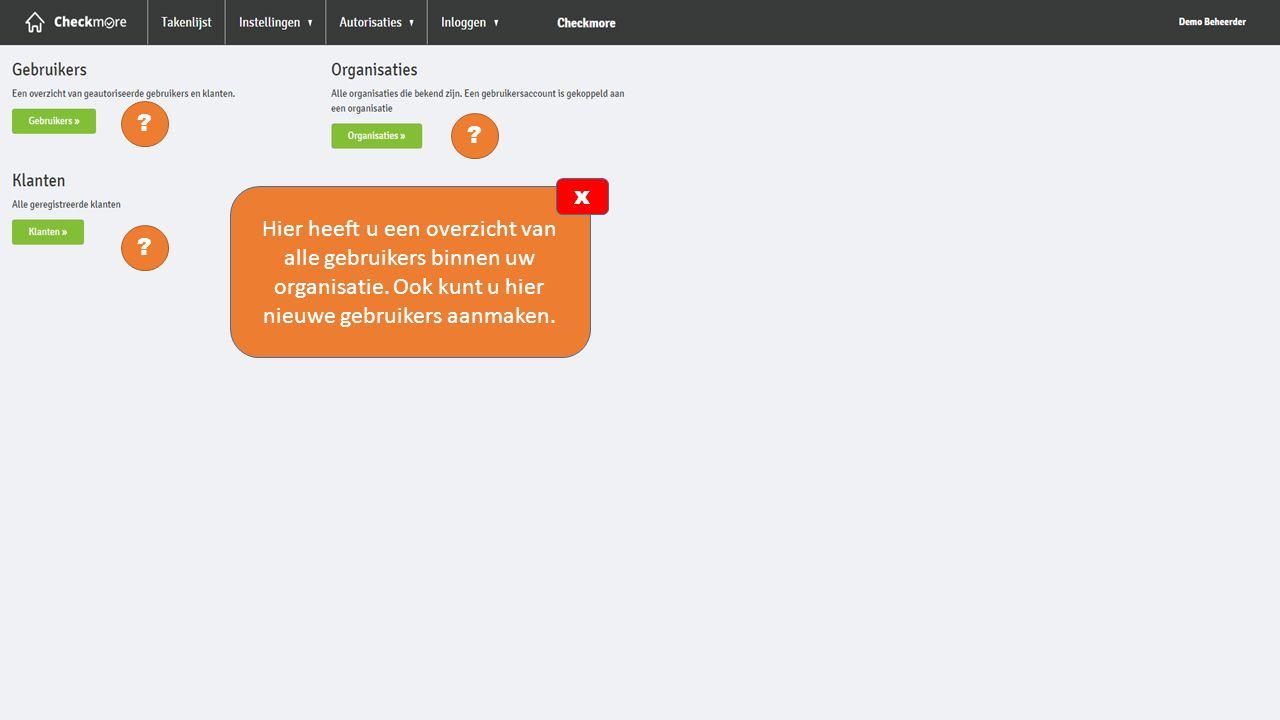 x. Hier heeft u een overzicht van alle gebruikers binnen uw organisatie. Ook kunt u hier nieuwe gebruikers aanmaken.