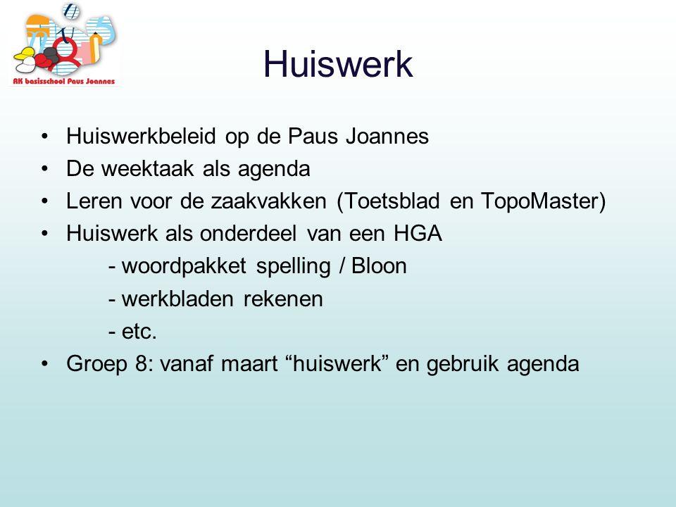 Huiswerk Huiswerkbeleid op de Paus Joannes De weektaak als agenda