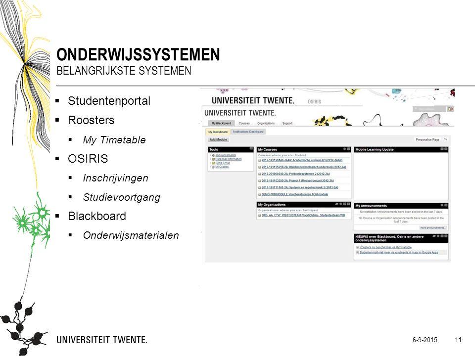 Onderwijssystemen Belangrijkste systemen Studentenportal Roosters