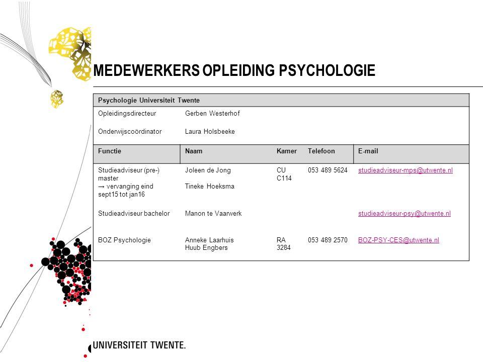 MEDEWERKERS OPLEIDING PSYCHOLOGIE