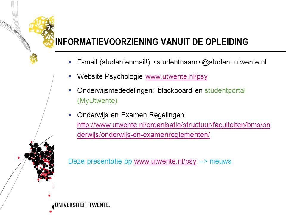 INFORMATIEVOORZIENING VANUIT DE OPLEIDING
