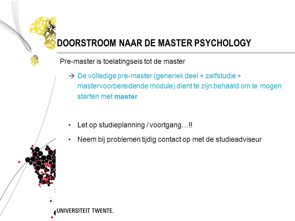 DOORSTROOM NAAR DE MASTER PSYCHOLOGY