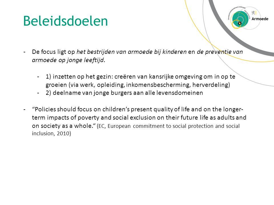 Beleidsdoelen De focus ligt op het bestrijden van armoede bij kinderen en de preventie van armoede op jonge leeftijd.