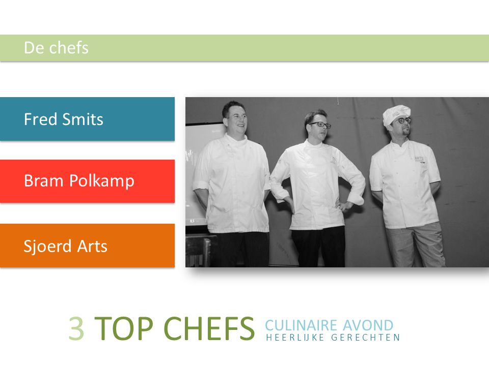 3 TOP CHEFS De chefs Fred Smits Bram Polkamp Sjoerd Arts