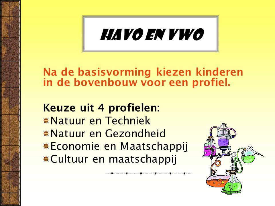 Havo en vwo Na de basisvorming kiezen kinderen in de bovenbouw voor een profiel. Keuze uit 4 profielen: