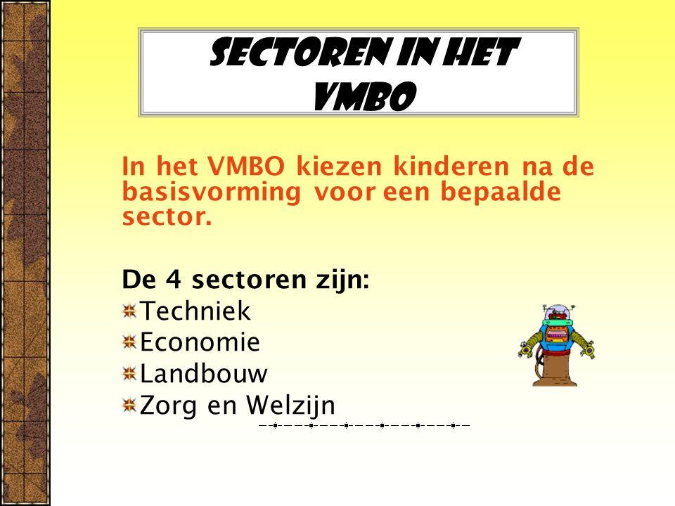 Sectoren in het Vmbo In het VMBO kiezen kinderen na de basisvorming voor een bepaalde sector. De 4 sectoren zijn: