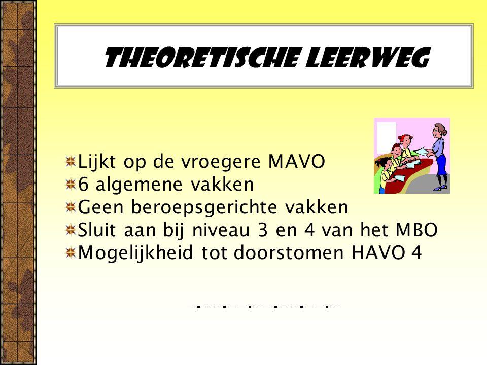 Theoretische leerweg Lijkt op de vroegere MAVO 6 algemene vakken