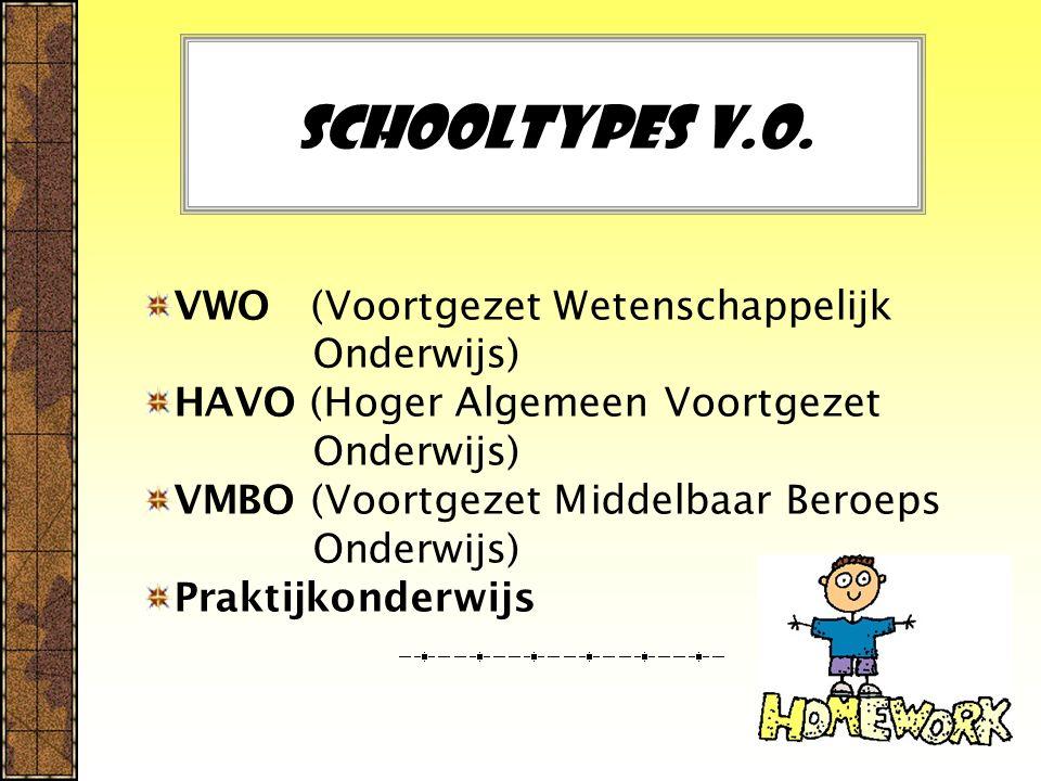 Schooltypes V.O. VWO (Voortgezet Wetenschappelijk Onderwijs)