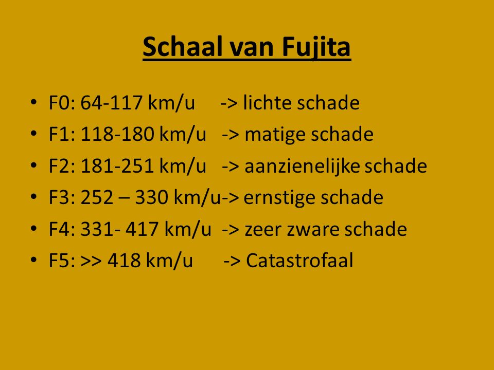 Schaal van Fujita F0: 64-117 km/u -> lichte schade