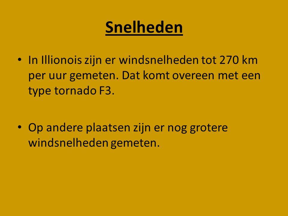 Snelheden In Illionois zijn er windsnelheden tot 270 km per uur gemeten. Dat komt overeen met een type tornado F3.