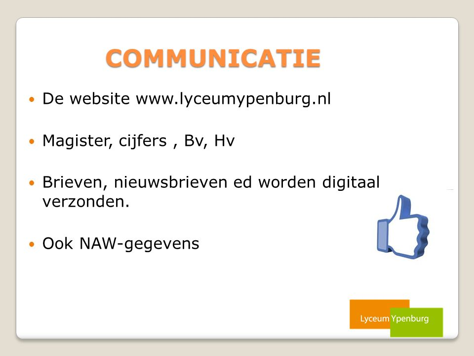 COMMUNICATIE De website www.lyceumypenburg.nl