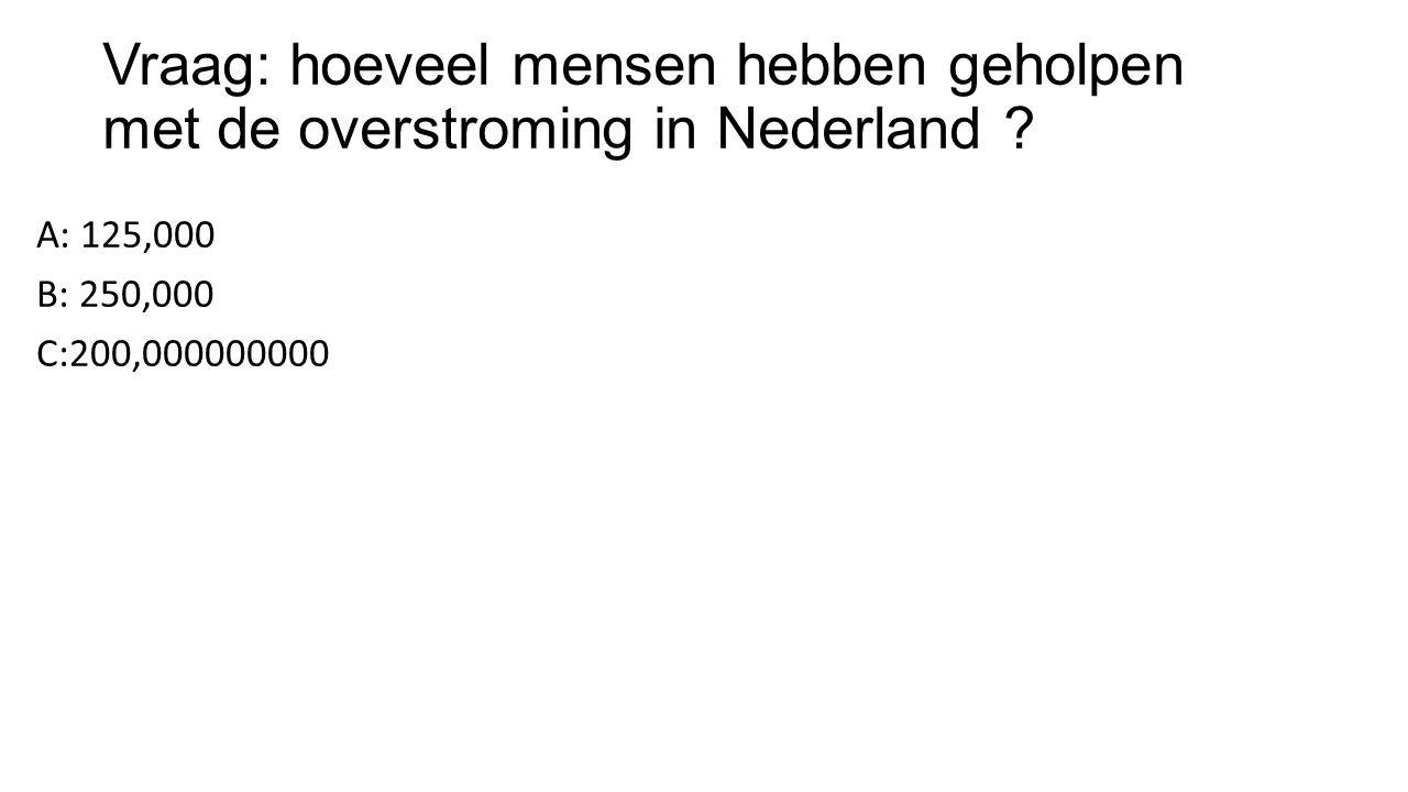 Vraag: hoeveel mensen hebben geholpen met de overstroming in Nederland