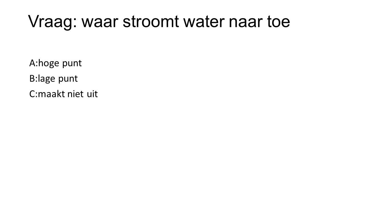 Vraag: waar stroomt water naar toe