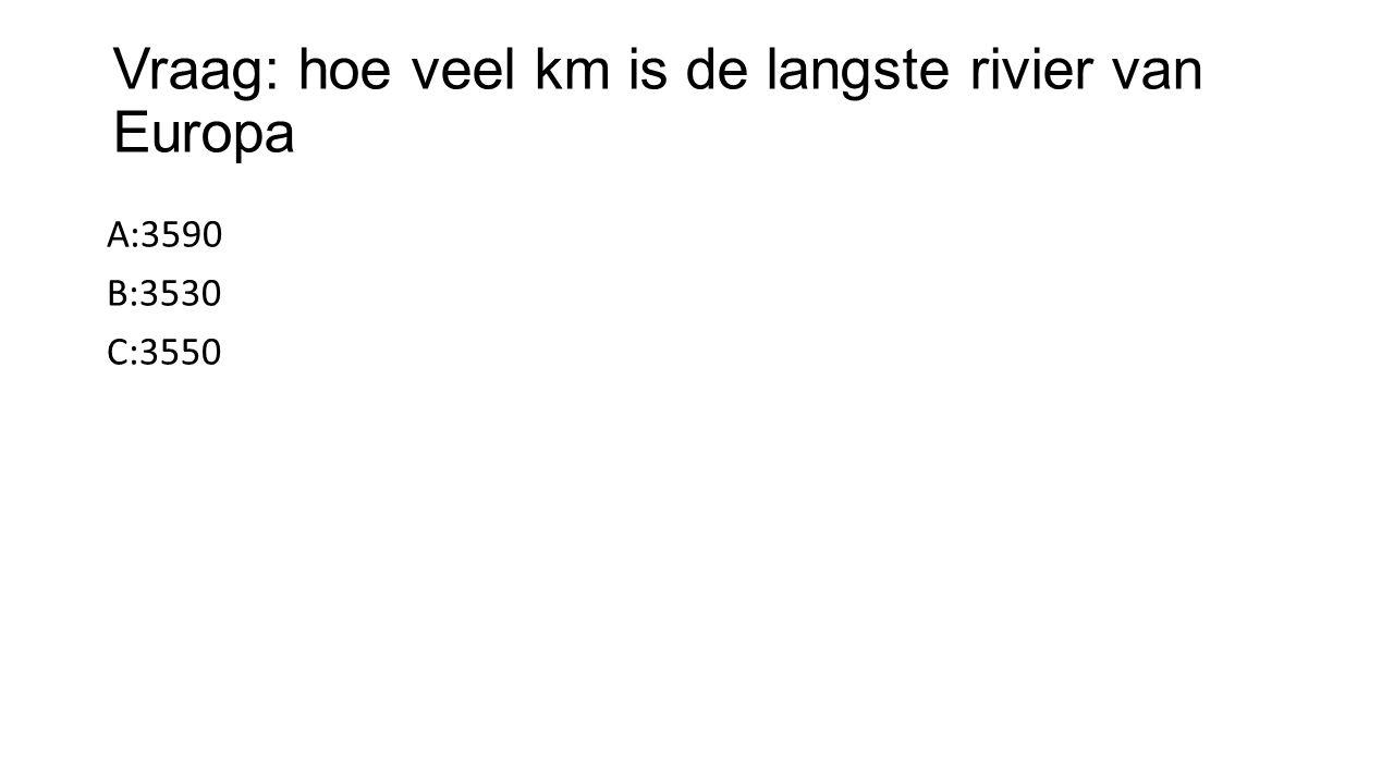 Vraag: hoe veel km is de langste rivier van Europa