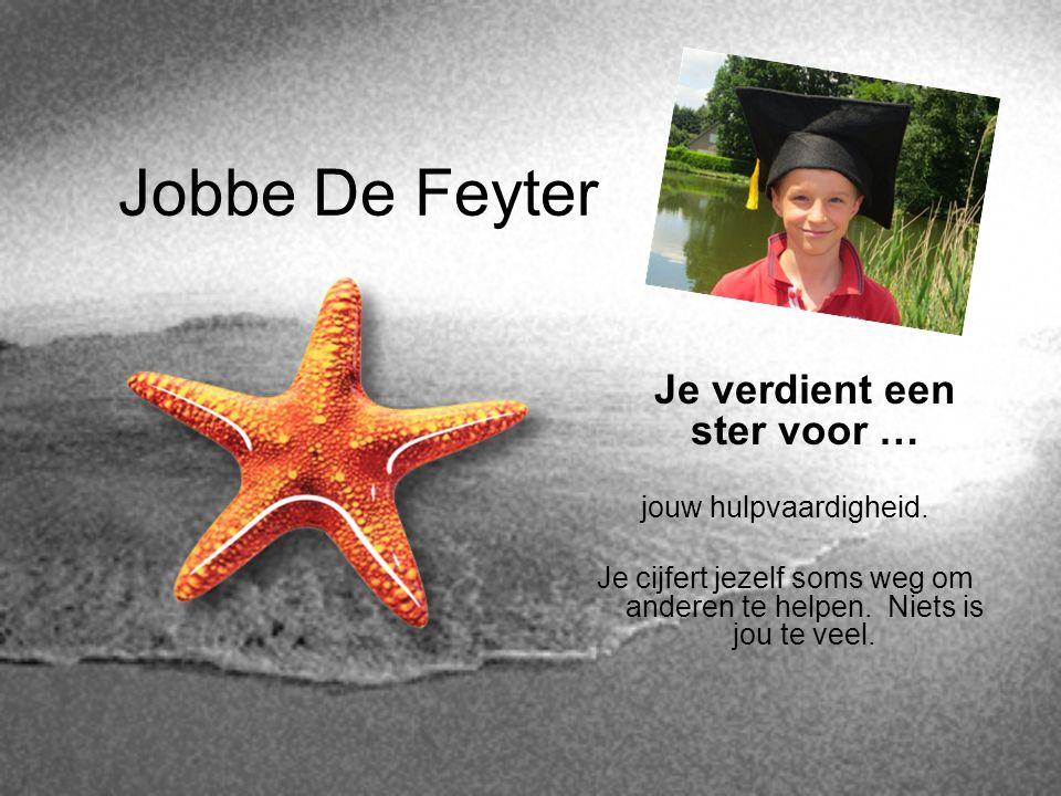 Jobbe De Feyter Je verdient een ster voor … jouw hulpvaardigheid.