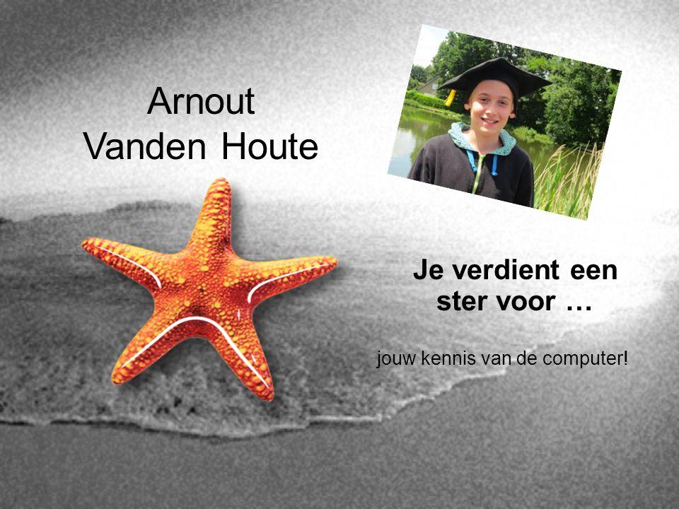 Arnout Vanden Houte Je verdient een ster voor …