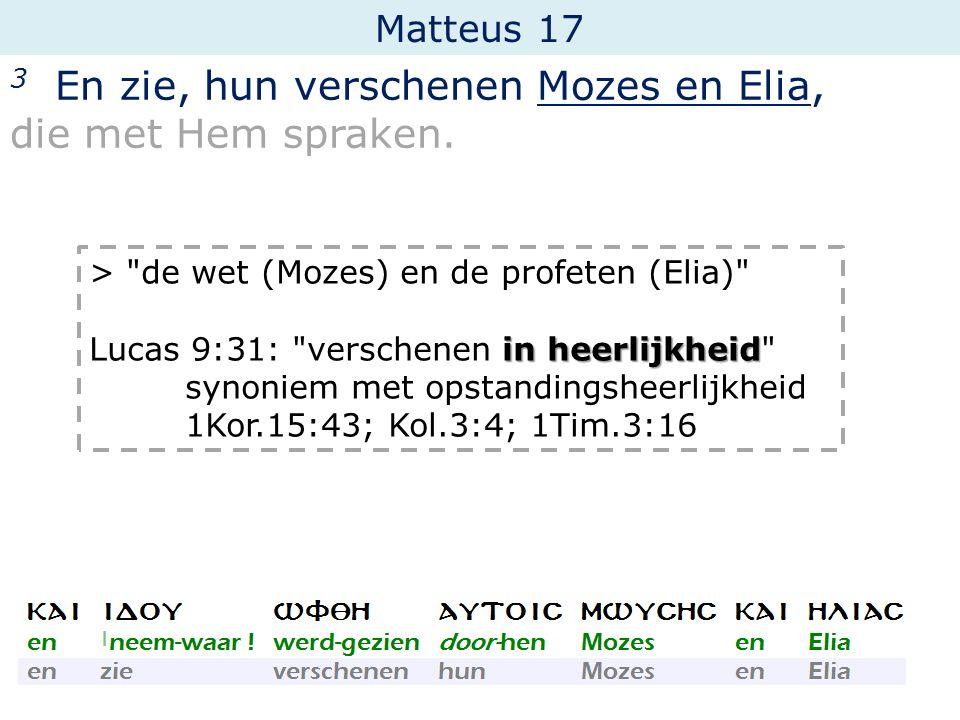 3 En zie, hun verschenen Mozes en Elia, die met Hem spraken.