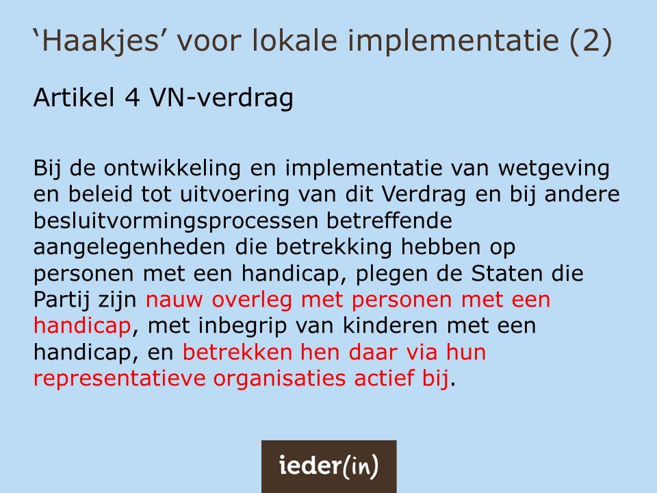 'Haakjes' voor lokale implementatie (2)