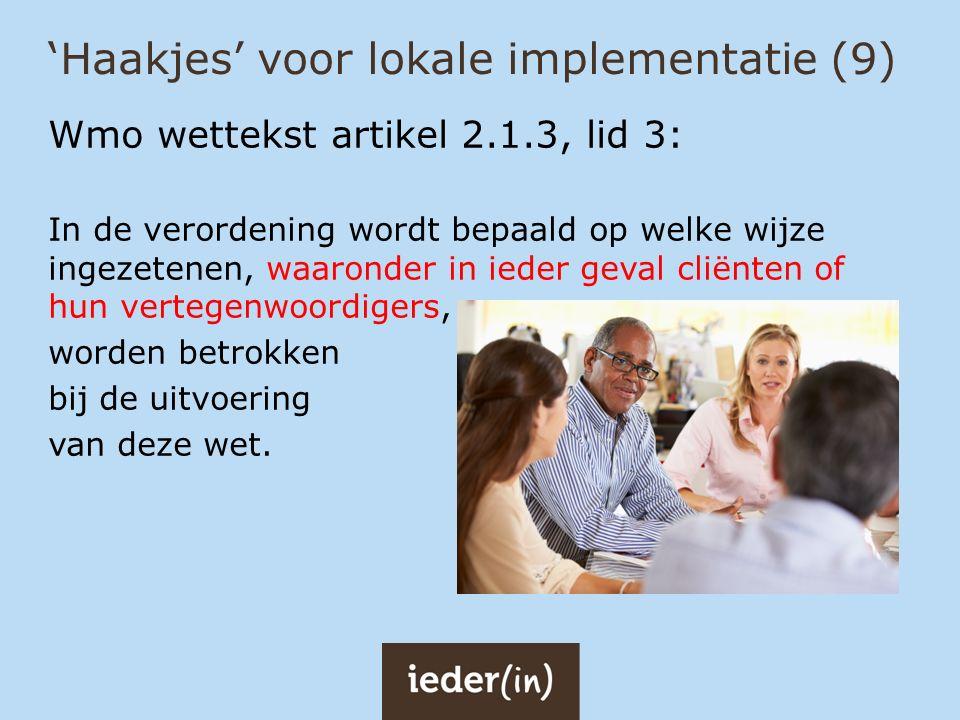'Haakjes' voor lokale implementatie (9)