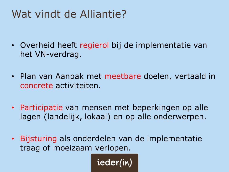 Wat vindt de Alliantie Overheid heeft regierol bij de implementatie van het VN-verdrag.