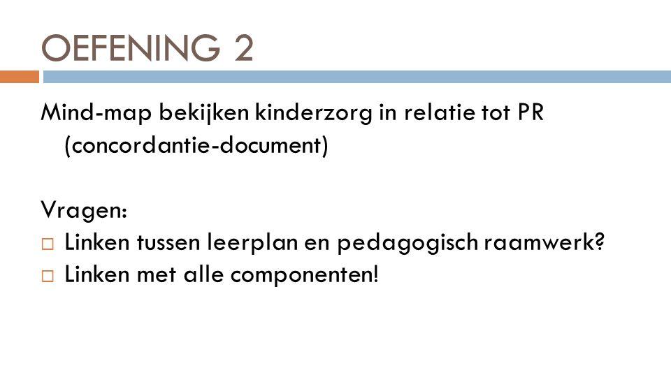 OEFENING 2 Mind-map bekijken kinderzorg in relatie tot PR (concordantie-document) Vragen: Linken tussen leerplan en pedagogisch raamwerk