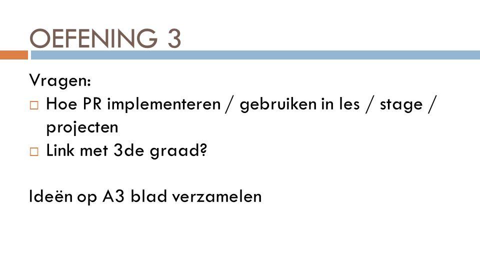OEFENING 3 Vragen: Hoe PR implementeren / gebruiken in les / stage / projecten. Link met 3de graad