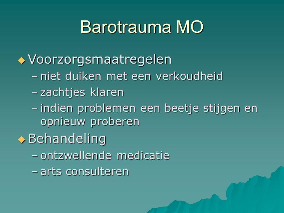 Barotrauma MO Voorzorgsmaatregelen Behandeling