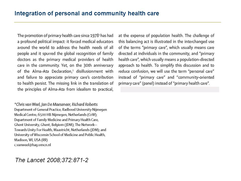 Integration of personal and community health care