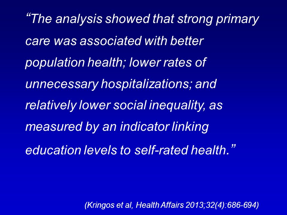 The analysis showed that strong primary care was associated with better population health; lower rates of unnecessary hospitalizations; and relatively lower social inequality, as measured by an indicator linking education levels to self-rated health.