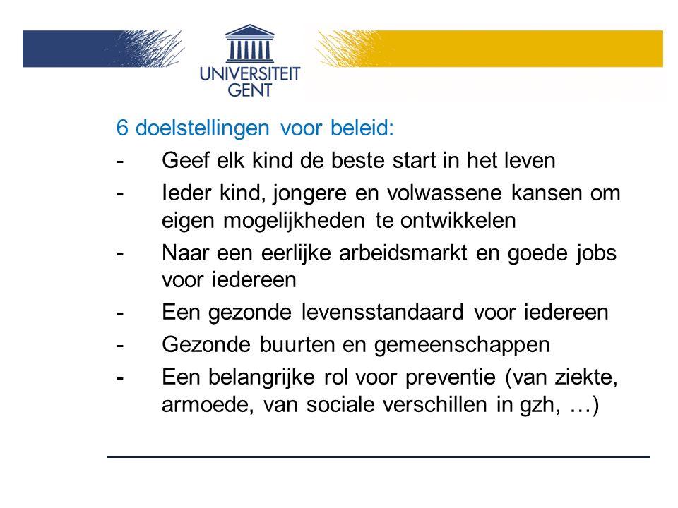 6 doelstellingen voor beleid:
