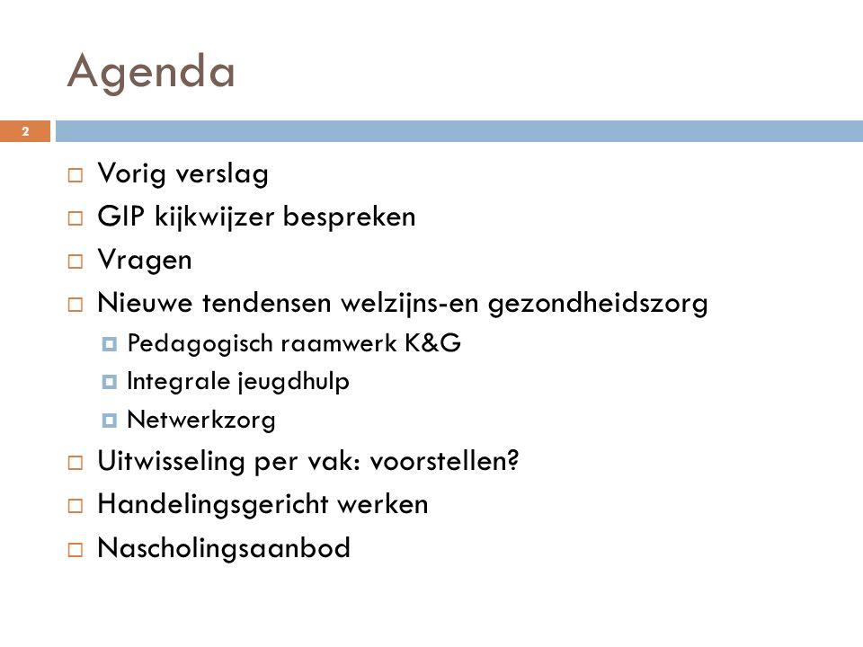 Agenda Vorig verslag GIP kijkwijzer bespreken Vragen