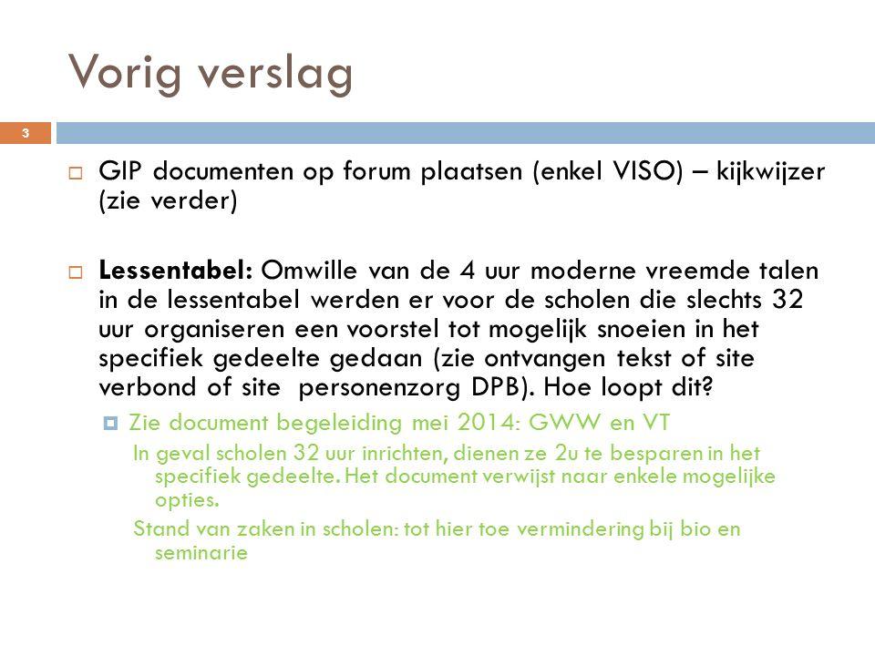 Vorig verslag GIP documenten op forum plaatsen (enkel VISO) – kijkwijzer (zie verder)