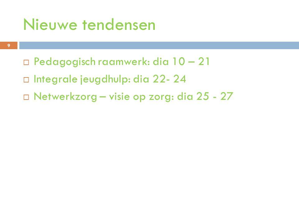 Nieuwe tendensen Pedagogisch raamwerk: dia 10 – 21