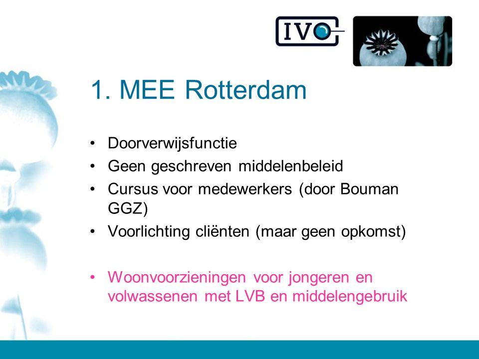 1. MEE Rotterdam Doorverwijsfunctie Geen geschreven middelenbeleid