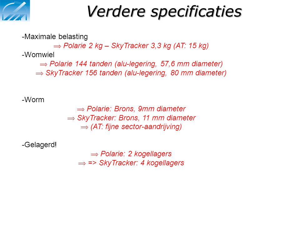 Verdere specificaties