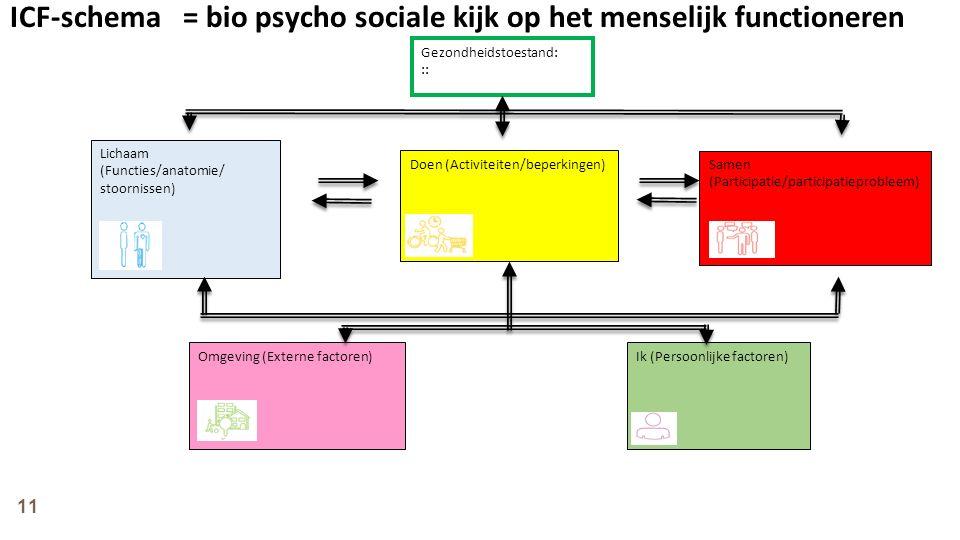 ICF-schema = bio psycho sociale kijk op het menselijk functioneren