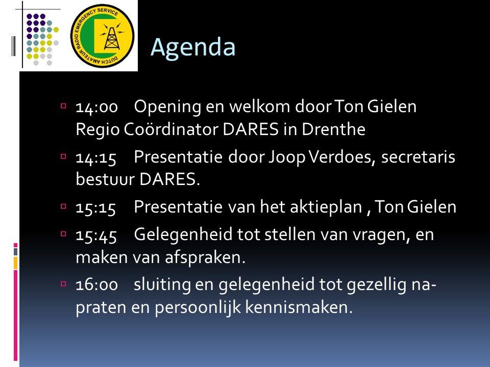 Agenda 14:00 Opening en welkom door Ton Gielen Regio Coördinator DARES in Drenthe.