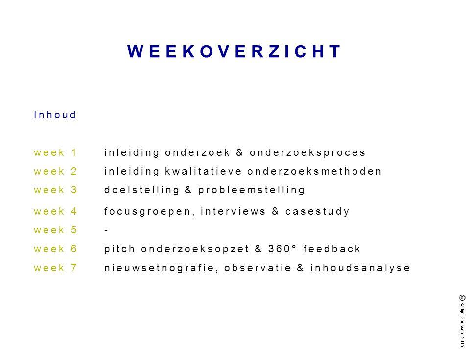 WEEKOVERZICHT Inhoud week 1 inleiding onderzoek & onderzoeksproces
