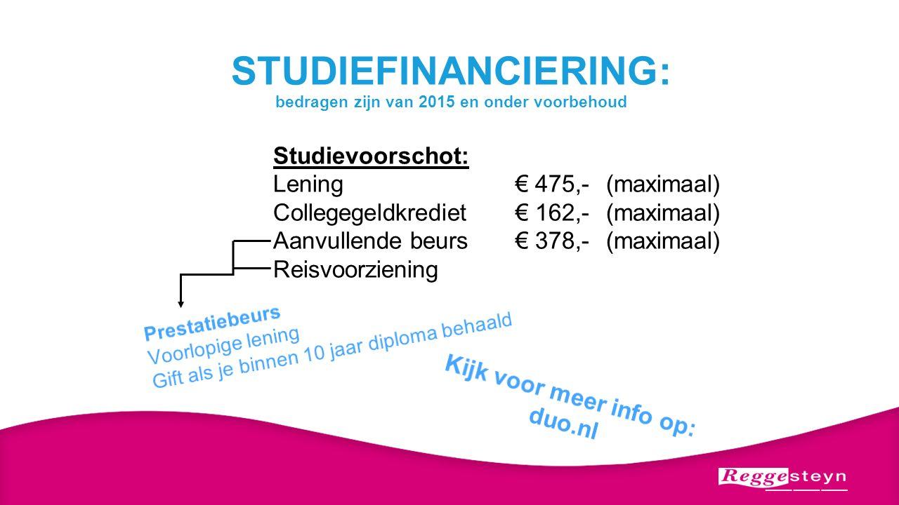 STUDIEFINANCIERING: bedragen zijn van 2015 en onder voorbehoud