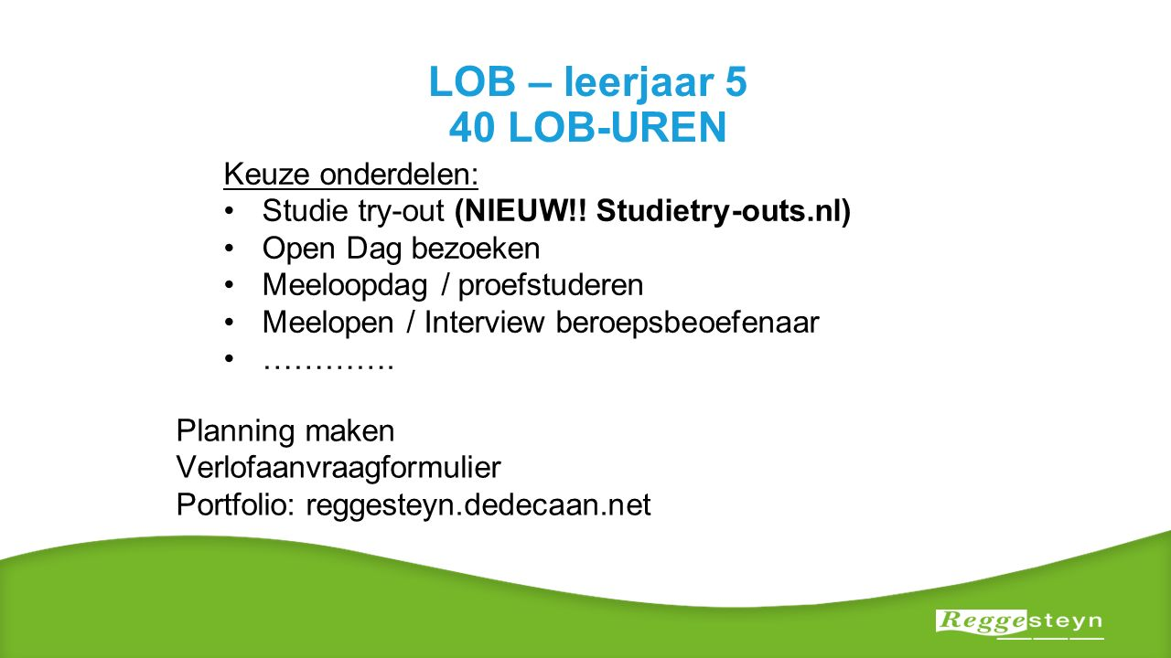 LOB – leerjaar 5 40 LOB-UREN