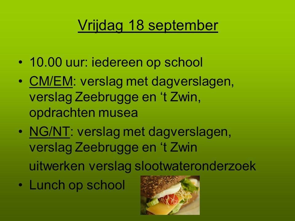 Vrijdag 18 september 10.00 uur: iedereen op school